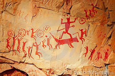 Prehistoric human Fresco replicas