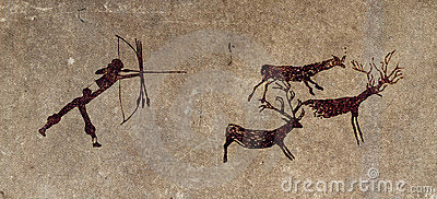 Prehistoric hunter - cave painting reproduction