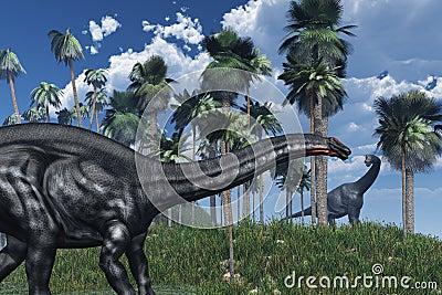 Prehistoric Scene with Dinosaurs