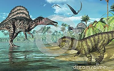 Prehistoric Scene with Dinosaurs 2
