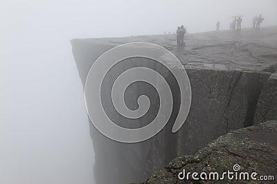 Preikestolen rock taken in deep fog, Norway