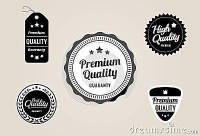 Premium Quality & Guarantee Labels and Badges - retro style design