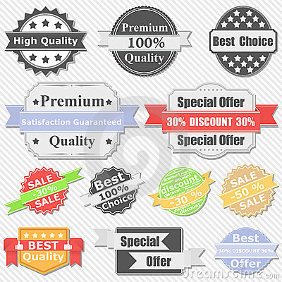 Premium Quality and Sale Labels