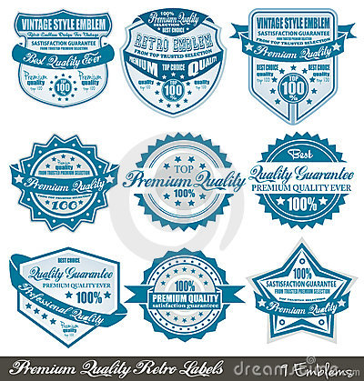 Premium Quality and Satisfaction Guarantee labels