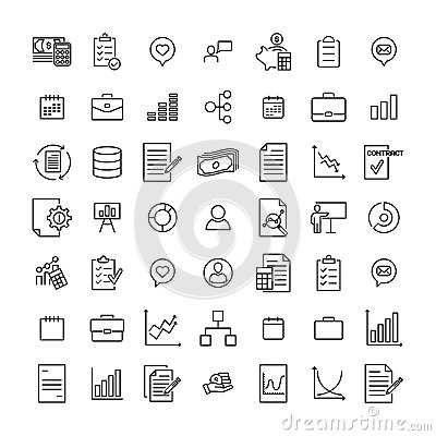 Free Premium Set Of Business Line Icons. Stock Images - 119816014