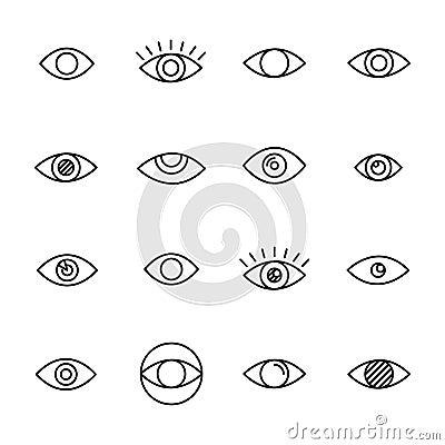 Free Premium Set Of Eye Line Icons Royalty Free Stock Photos - 102906578