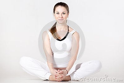prenatal yoga butterfly pose stock photo  image 64018433