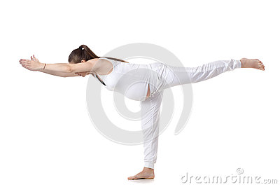 prenatal yoga warrior iii pose stock photo  image 64018423