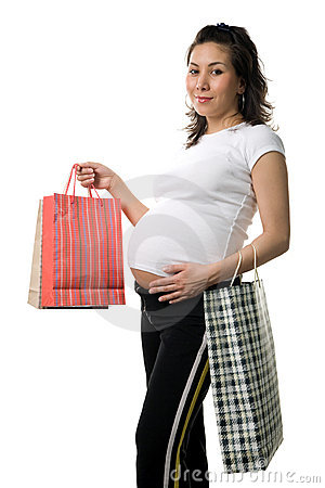 Prengnant woman shopping