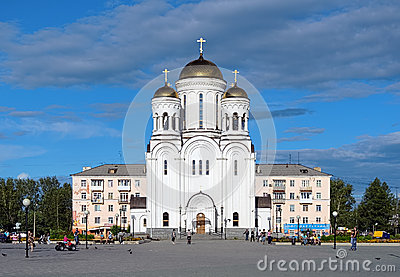 Preobrazhenskaya Square with church in Serov Editorial Photo