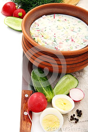 Preparation Of A Cold Soup With Kefir. Royalty Free Stock Image - Image: 24668446