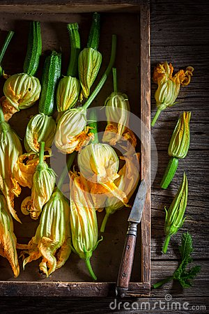 Free Preparation For Homemade Roasted Zucchini Flower Made Of Pancake Batter Royalty Free Stock Photography - 113340907