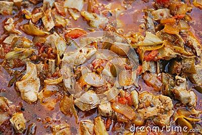 Preparation spanish paella
