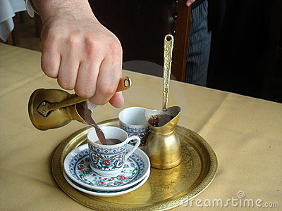 Preparation for Turkish coffee