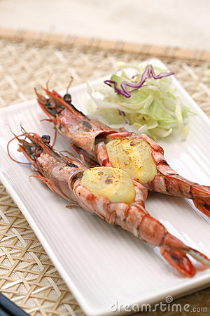 Prepared and delicious shrimps taken in studio
