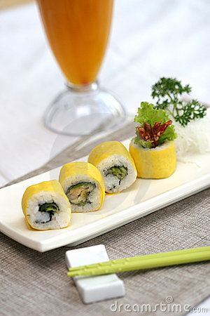 Prepared and delicious sushi