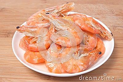 Prepared shrimps on plate