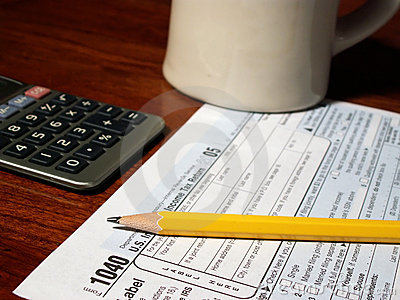 Preparing 1040 tax form Editorial Stock Image
