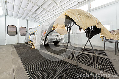 Preparing the car and car bumper for painting Editorial Stock Image