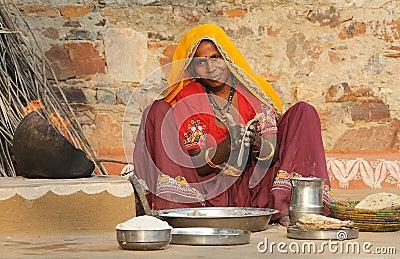 Preparing chapati 2 Editorial Photography