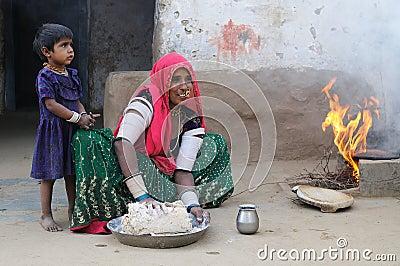 Preparing chapati 3 Editorial Image