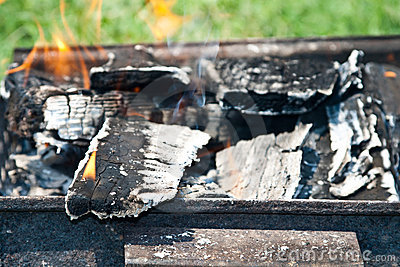 Preparing the fire for Barbeque Grill