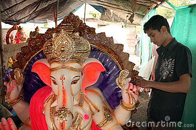 Preparing for Ganesh Festival Editorial Photography