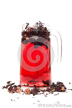 Preparing hibiscus tea