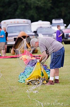 Preparing the Hot Air Balloon Editorial Photo