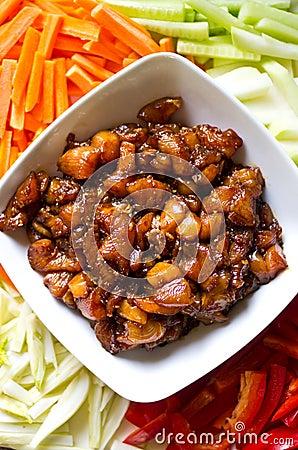 Preparing Korean food