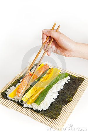 Preparing Korean Sushi