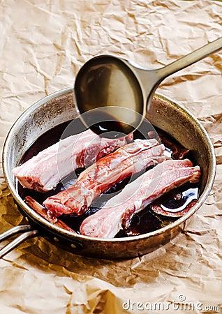 Preparing pork ribs