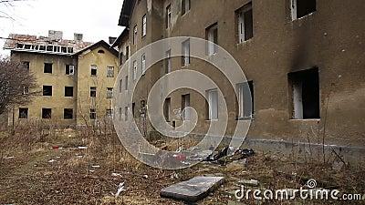 PREROV, CZECH REPUBLIC, FEBRUARY 25, 2017: Ghetto poor abandoned former gypsy. PREROV, CZECH REPUBLIC, FEBRUARY 25, 2017: Ghetto poor in Prerov, Skodova street stock video footage