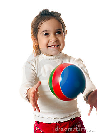Preschool child with ball