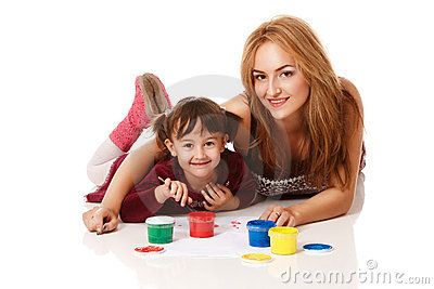 Preschool daughter with young mom