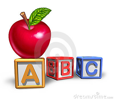 Preschool education symbol with apple