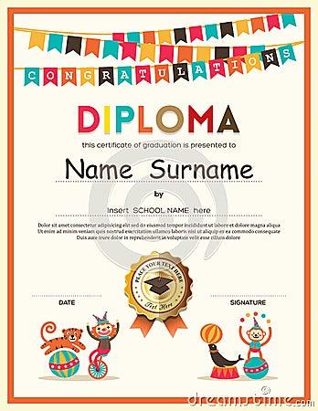 Preschool Elementary school Kids Diploma certificate background Vector Illustration