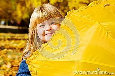 Preschool girl hiding