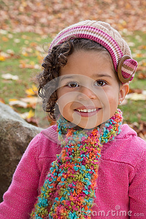 Preschool girl in knits