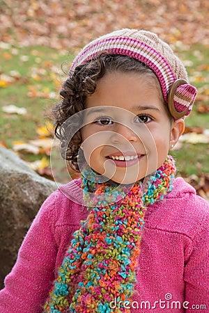 Preschool girl in knits