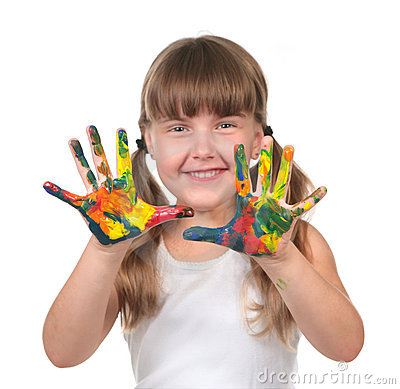Preschool Kid Waiting to Make Handprints