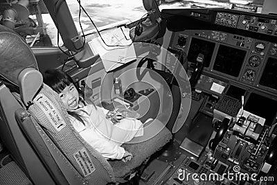 Preschooler in Airplane Cockpit