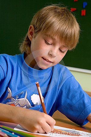 Preschooler boy draw