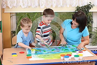 Preschoolers and fingerpainting