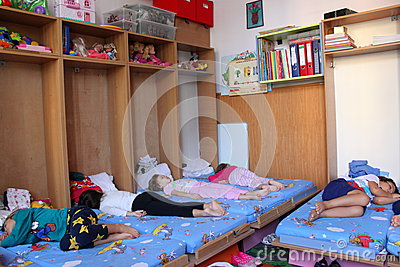Preschoolers sleeping at kindergarten Editorial Photography