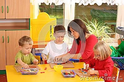 Preschoolers and wooden blocks