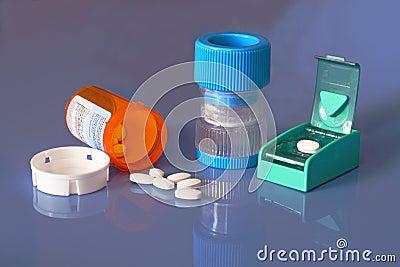 Prescription bottle, pills, pill crusher, splitter