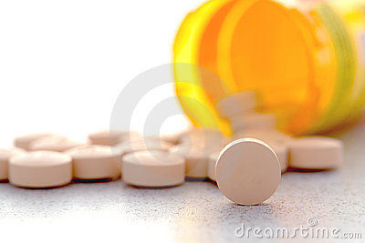 Prescription Medication Pain Pills and Drug Bottle
