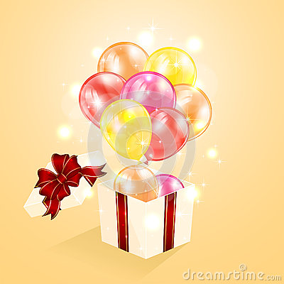 Present with balloons