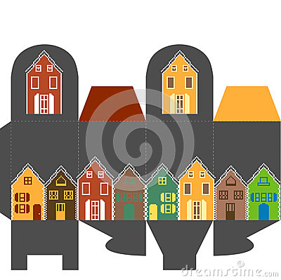 Present box with houses